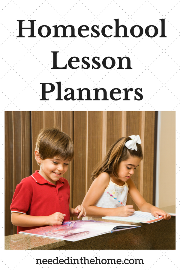 Homeschool Lesson Planners boy and girl doing homeschool at the table neededinthehome