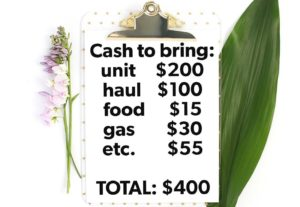 Buying storage units - clipboard of cash to bring to a storage unit auction