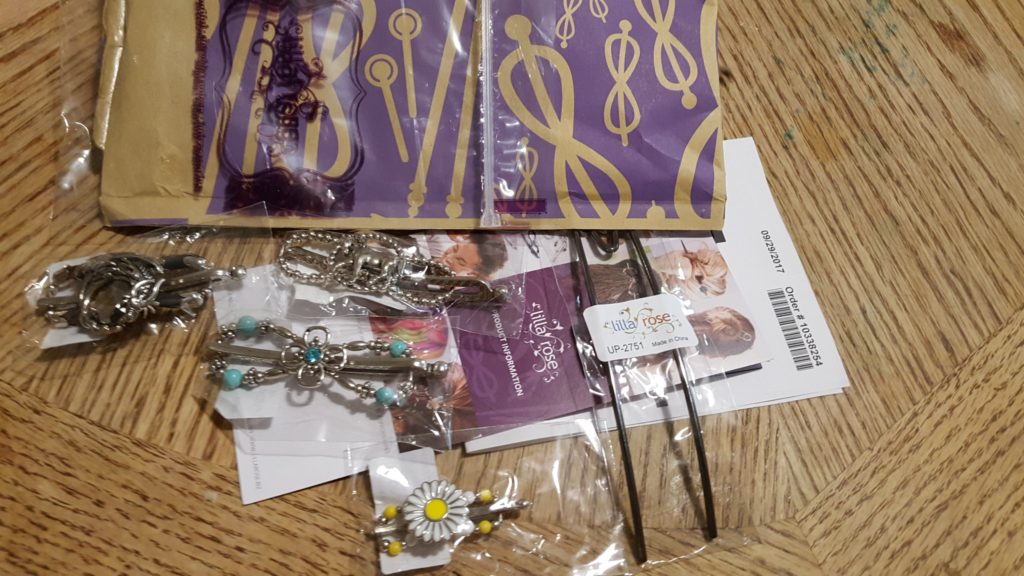 Lilla Rose Hair Accessories review image packaging with new hair clips and new hair pin invoice brochure