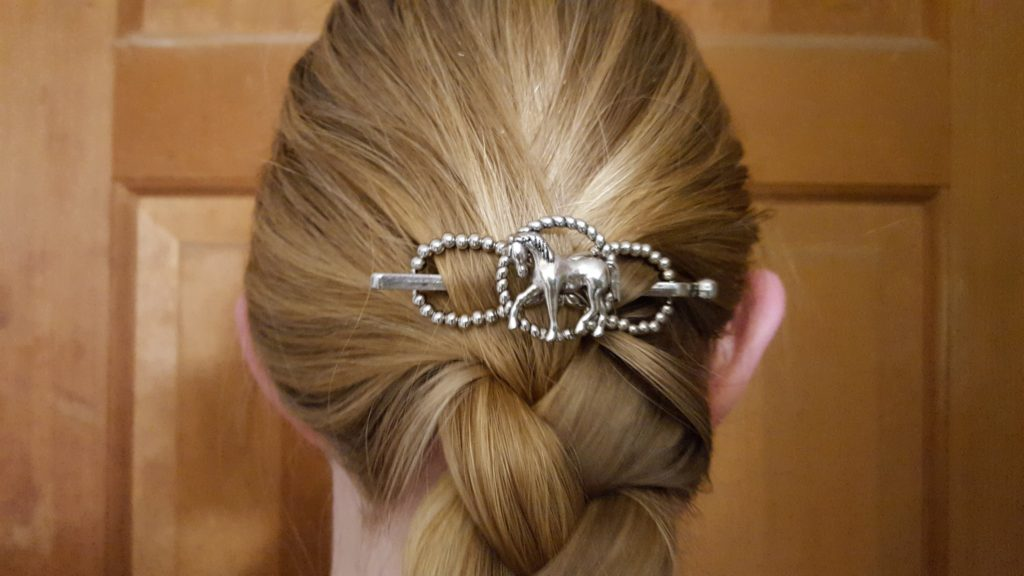 Lilla Rose Hair Accessories Product Review image silver horse hair clip figure eight with silver pin in blond woman's hair