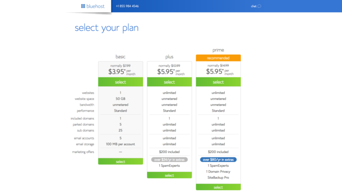 Select your plan to start a blog with Bluehost