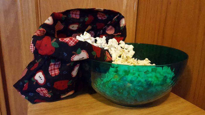 Zero waste reusable items Microwave Popcorn Bag popcorn in bowl