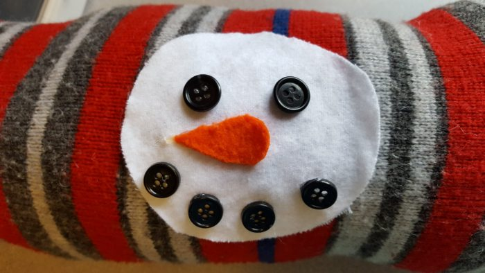 Make a Holiday Snowman Pillow completed work example