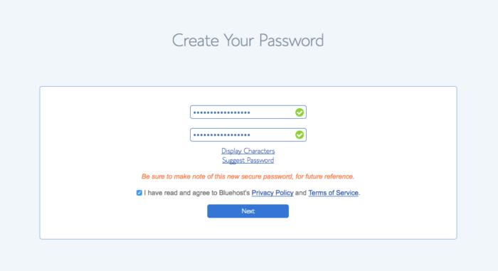 Create a password to start a blog