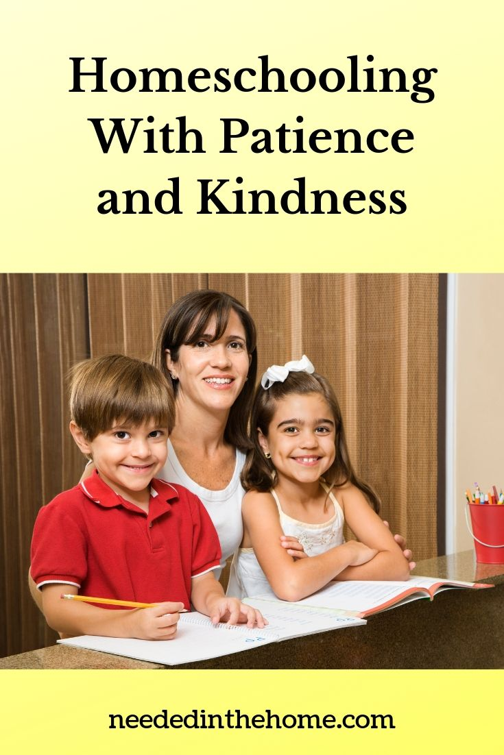 Homeschooling with patience and kindness mom teaching homeschool to her two children neededinthehome