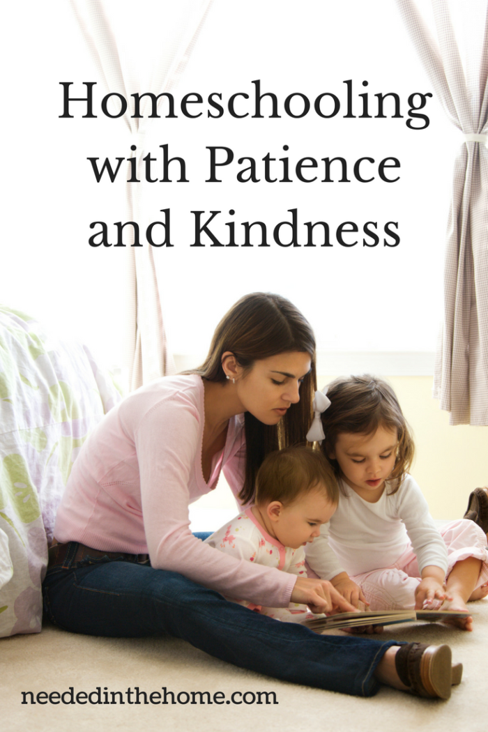 A Mom homeschooling with patience and reading to her children
