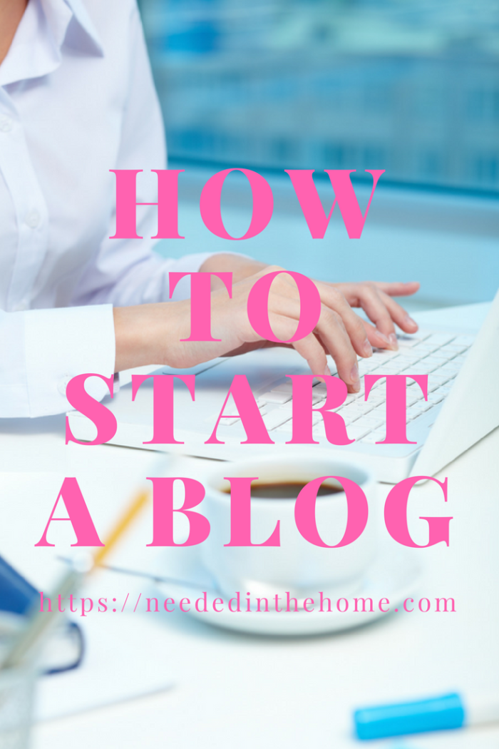 woman typing on laptop coffee desk How to Start a Blog by neededinthehome