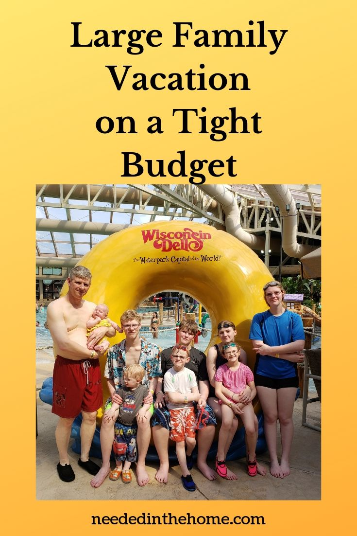Large Family Vacation on a Tight Budget family of 10 posing at an indoor waterpark in Wisconsin Dells neededinthehome