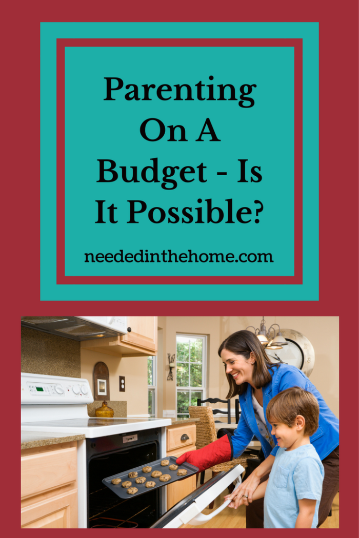mom and son baking cookies in kitchen oven door open Parenting On A Budget - Is It Possible?