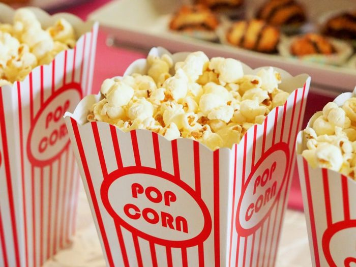 popcorn treats to eat in a home theater or home cinema room