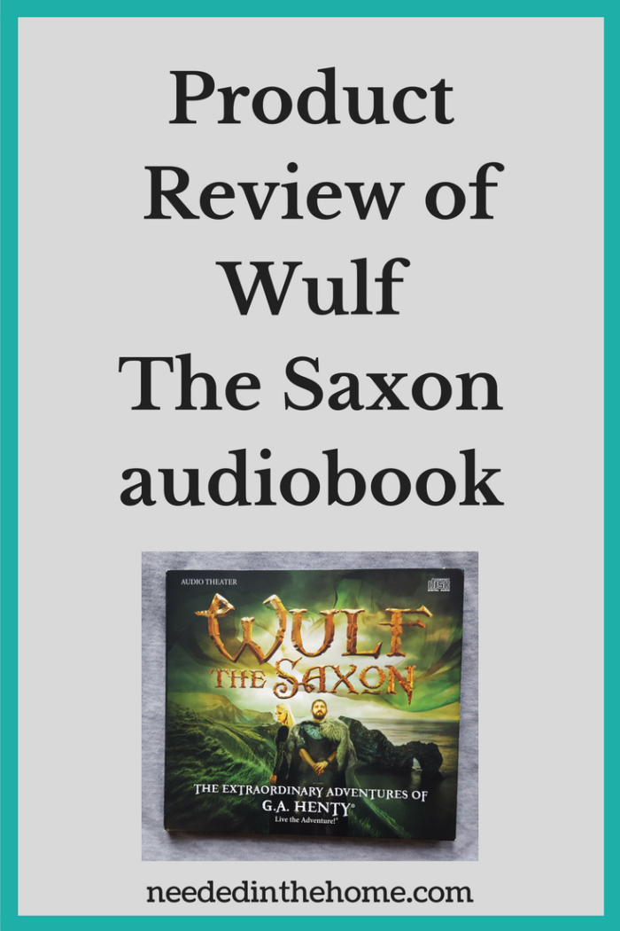 an audiobook cover with a man and woman Product Review of Wulf The Saxon audiobook neededinthehome.com