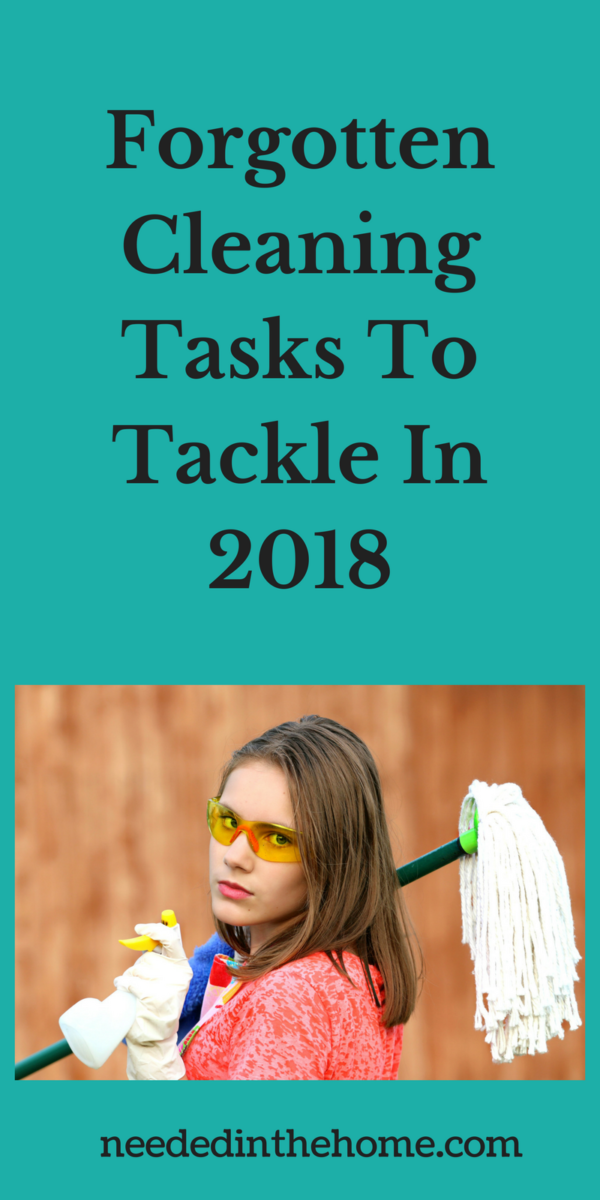 Woman with cleaning spray and mop ready to clean Forgotten Cleaning Tasks To Tackle In 2018