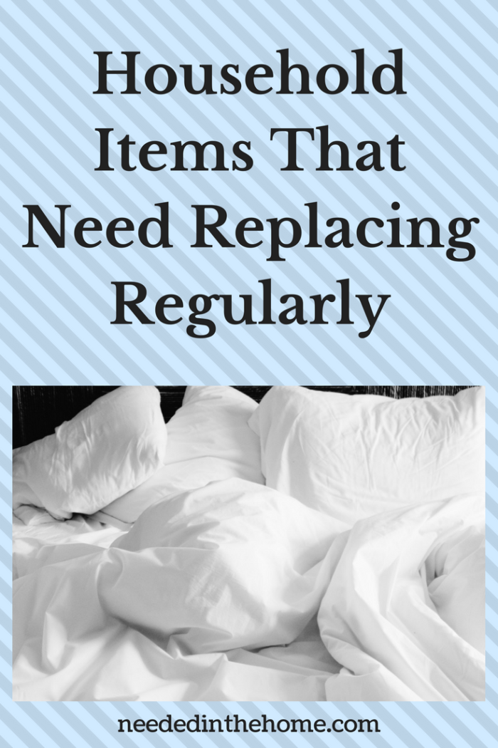 white pillows and sheets on an untidy bed Household Items That Need Replacing Regularly from NeededInTheHome