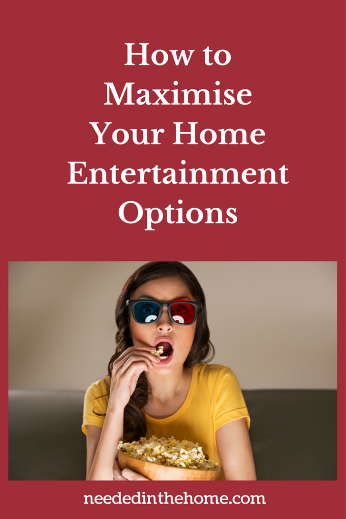 woman eating popcorn watching movie in 3D glasses how to maximise your home entertainment options