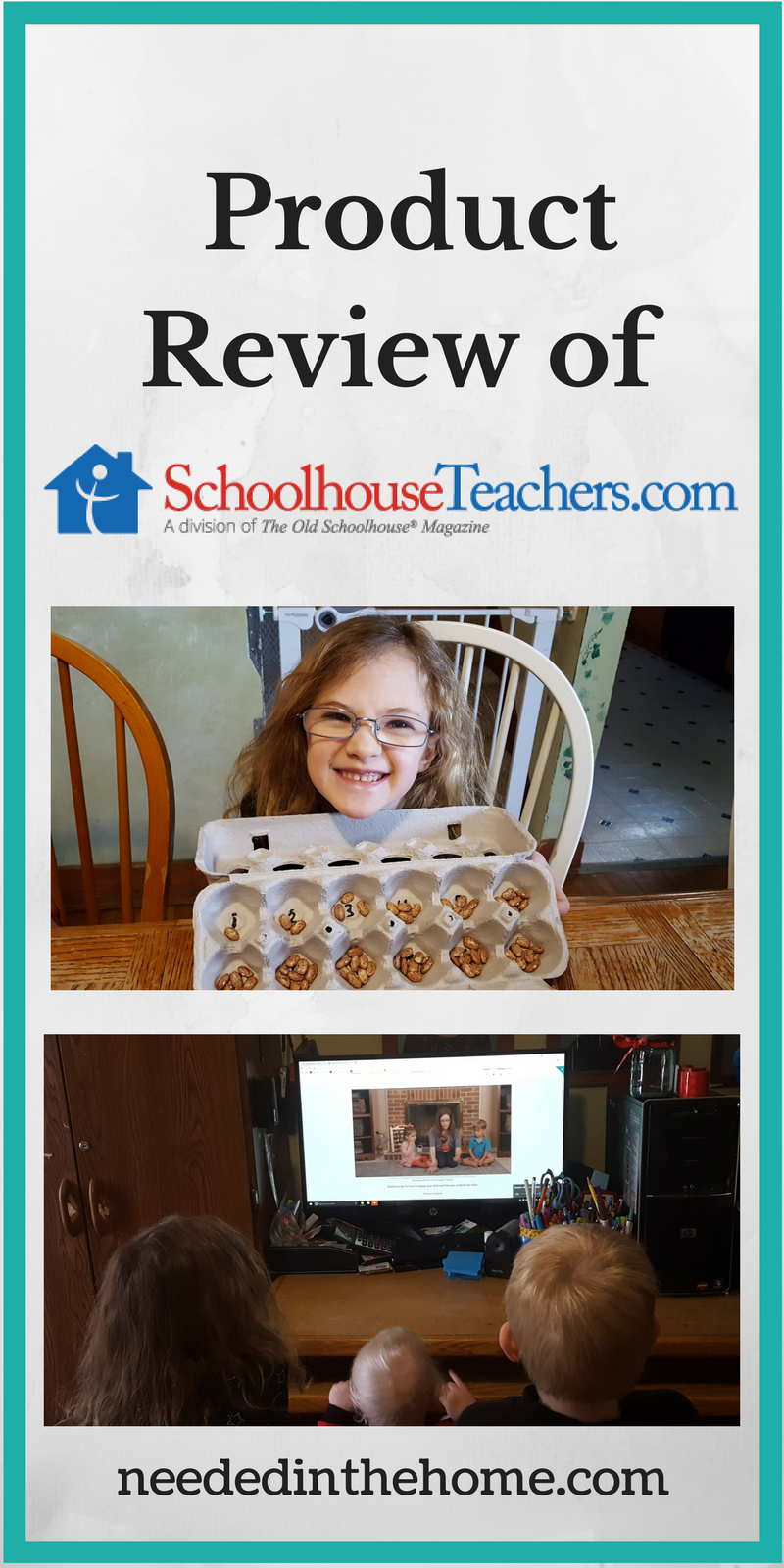 girl holding egg carton of counting beans three small children watch computer monitor Product Review of SchoolhouseTeachers.com by neededinthehome.com