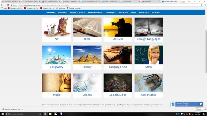 screenshot of SchoolhouseTeachers.com subjects for Grade 1