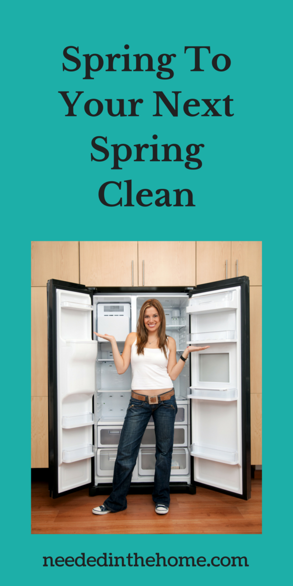 woman in front of clean refrigerator Spring To Your Next Spring Clean NeededInTheHome