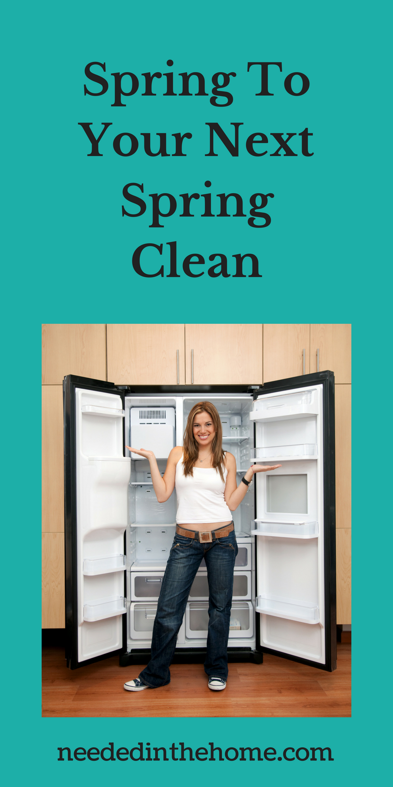 woman cleaned a refrigerator Spring To Your Next Spring Clean neededinthehome.com