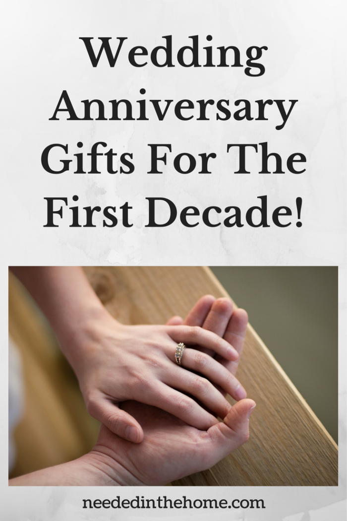 hands of woman and man with wedding band Wedding Anniversary Gifts For The First Decade! 1st 2nd 3rd 4th 5th 6th 7th 8th 9th 10th Wedding Anniversary Gift Ideas #AnniversaryGifts #WeddingAnniversaryGifts #AnniversaryGiftIdea #WeddingAnniversaryGiftIdea #TraditionalAnniversaryGifts from NeededInTheHome