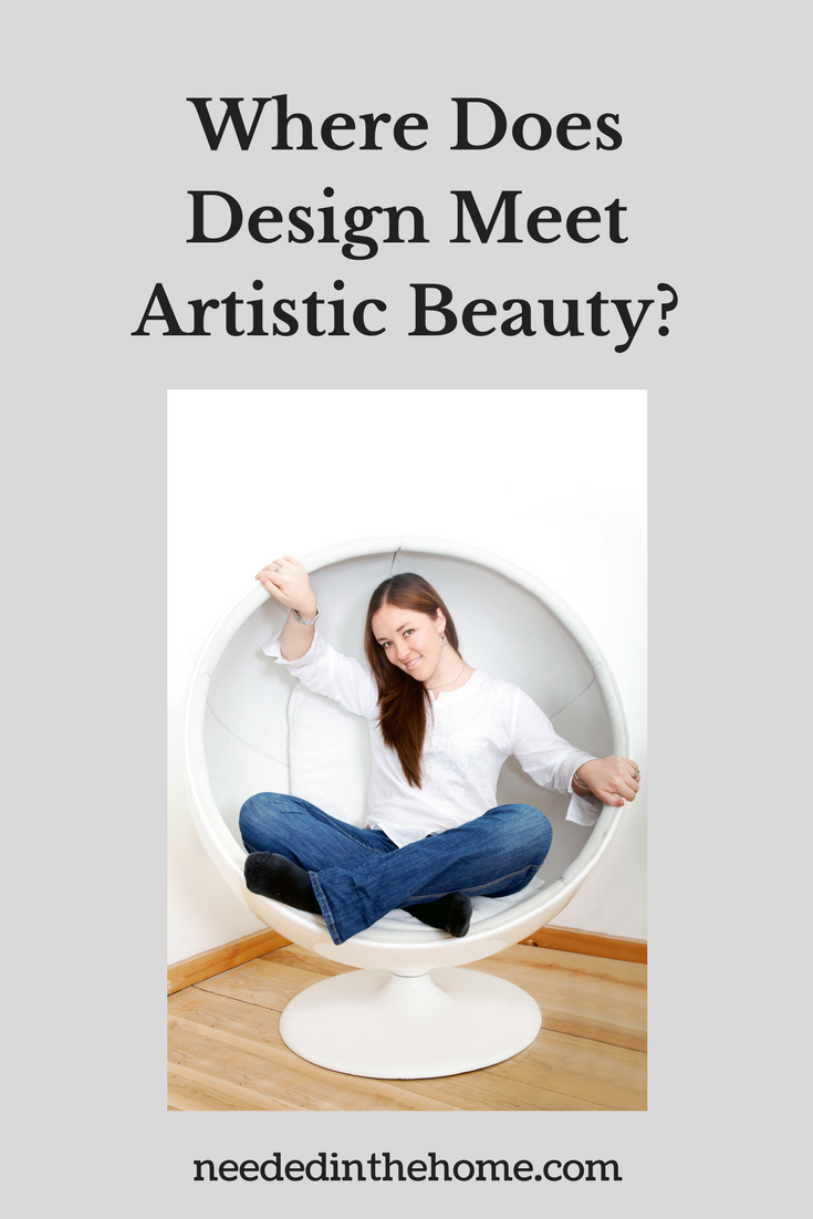 young woman sitting in a half sphere white chair Where Does Design Meet Artistic Beauty?