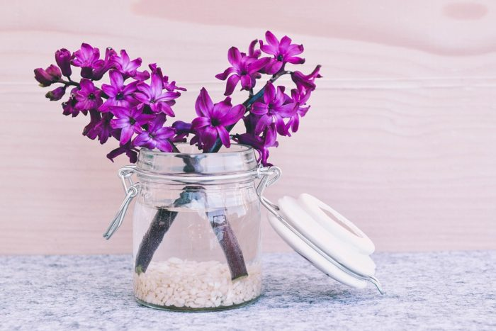 purple hyacinths in a glass jar of water The Key To Making Your Home A Happier Place