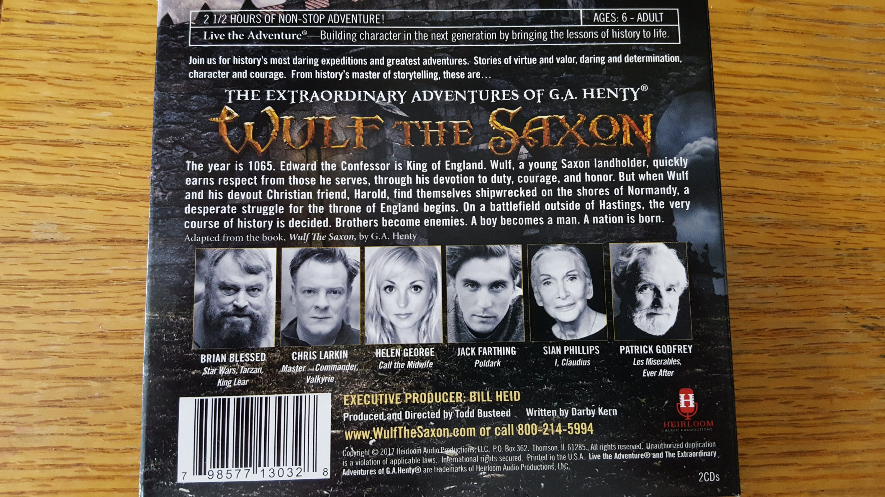 picture of the back of the Wulf The Saxon audiobook on CDs product review of Heirloom Audio Productions
