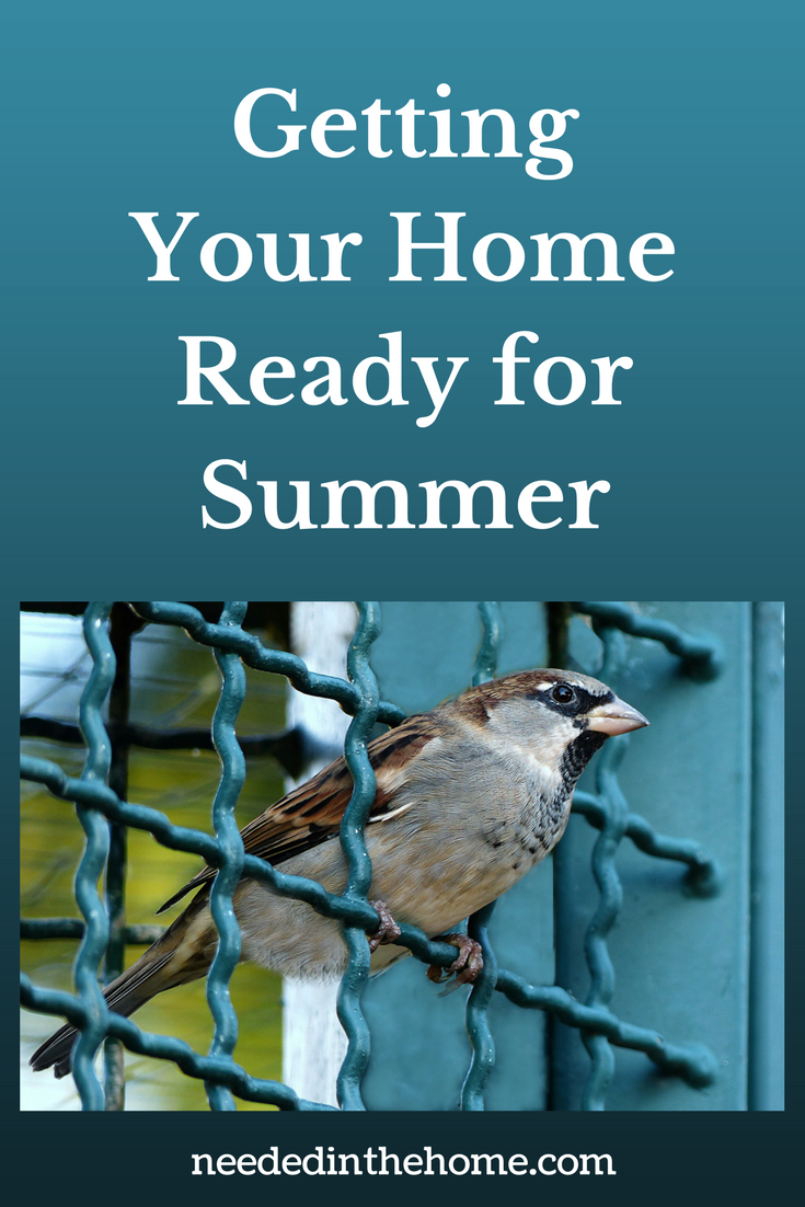 a sparrow bird resting on a wire fence near a house Getting Your Home Ready for Summer neededinthehome.com