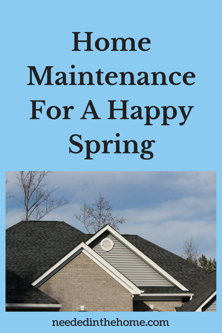 shingled roof and rain gutters on a modern home sky trees clouds Home Maintenance For A Happy Spring neededinthehome.com