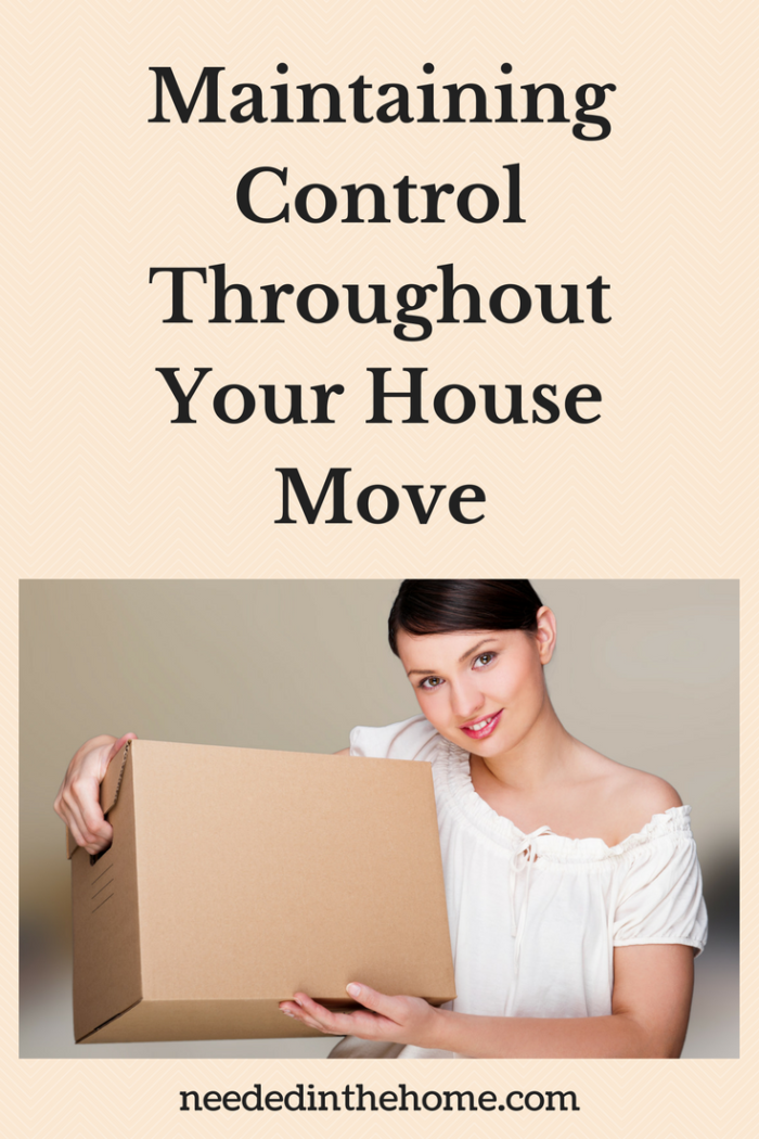 dark haired woman in white shirt holding a packed moving box on moving day Maintaining Control Throughout Your House Move / Finding The Perfect Home / Moving Day / neededinthehome.com