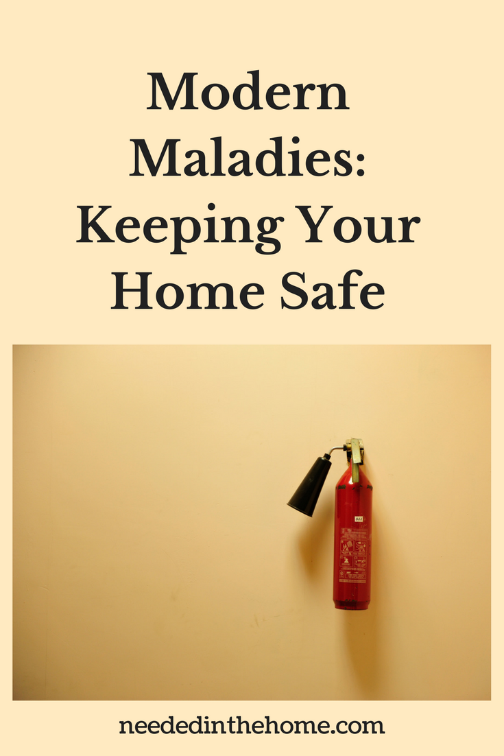 fire extinguisher hanging on the wall Modern Maladies: Keeping Your Home Safe neededinthehome