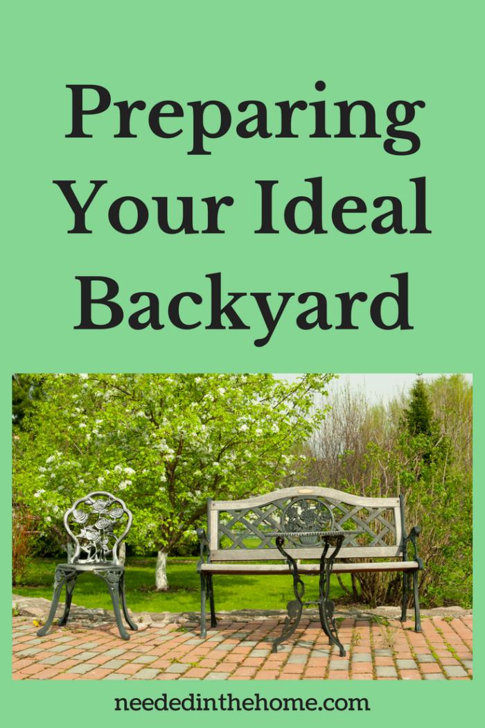 trees shrubs brick garden patio metal bench chair table Summer Dreamin' - Preparing Your Ideal Backyard Garden Space