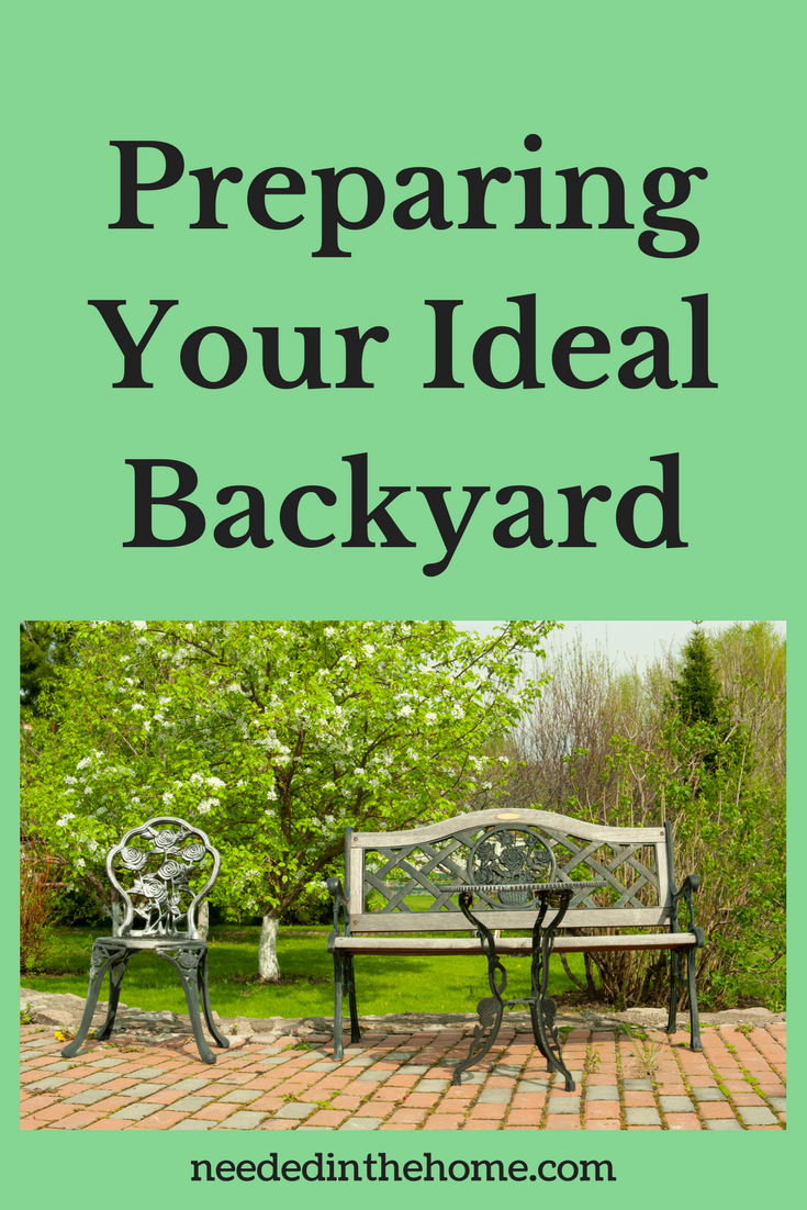 iron bench chair table on brick patio trees greenery Summer Dreamin' - Preparing Your Ideal Backyard Garden Space