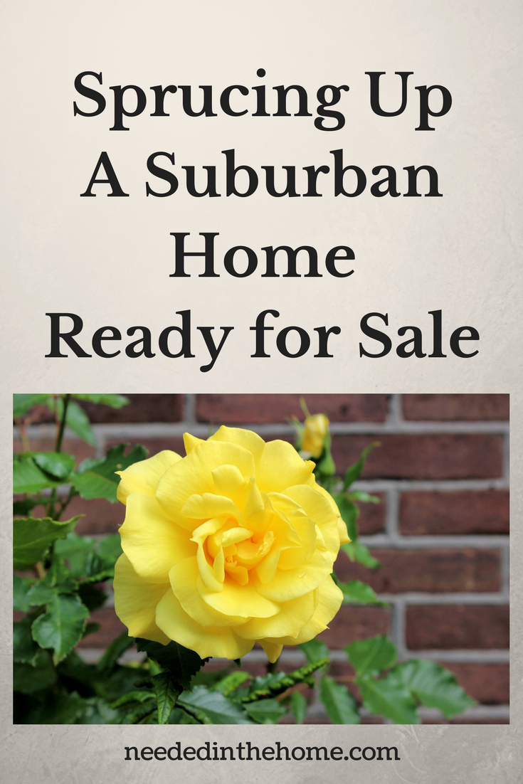 Yellow rose growing outside of a brick house with greenery Sprucing Up a Suburban Home Ready for Sale neededinthehome.com