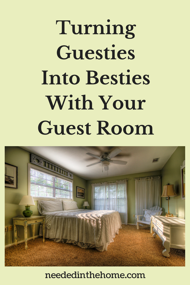 guest room with ceiling fan dresser side table full bed curtains carpet Turning Guesties Into Besties With Your Guest Room neededinthehome.com
