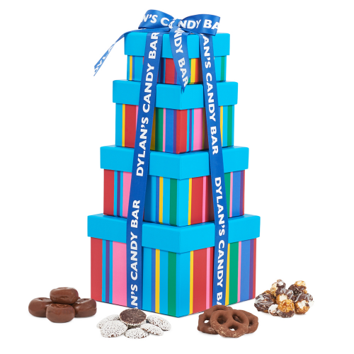 Dylan's Candy Bar Chocolate Sweet Treat Tower decorative cardboard boxes with lids ribbon nanpareils cookies popcorn pretzels