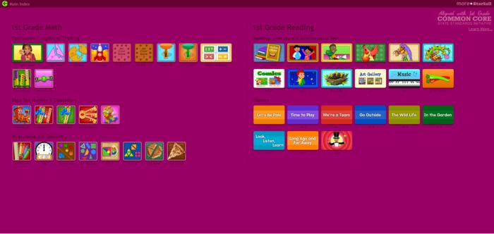 screen image of starfall 1st grade
