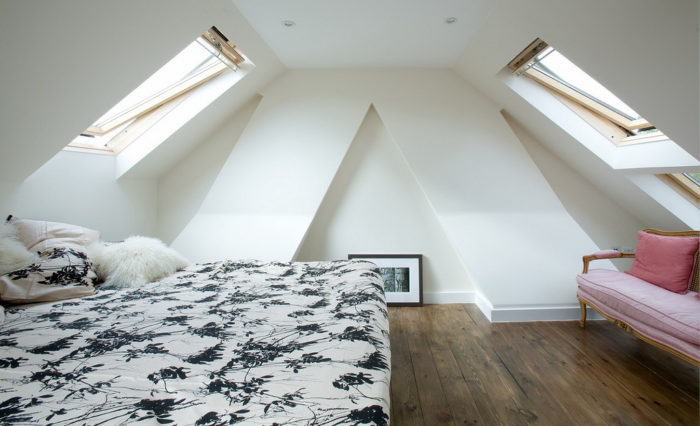 A Lot of Heat in your loft conversion / attic bedroom with ceiling lights bed couch