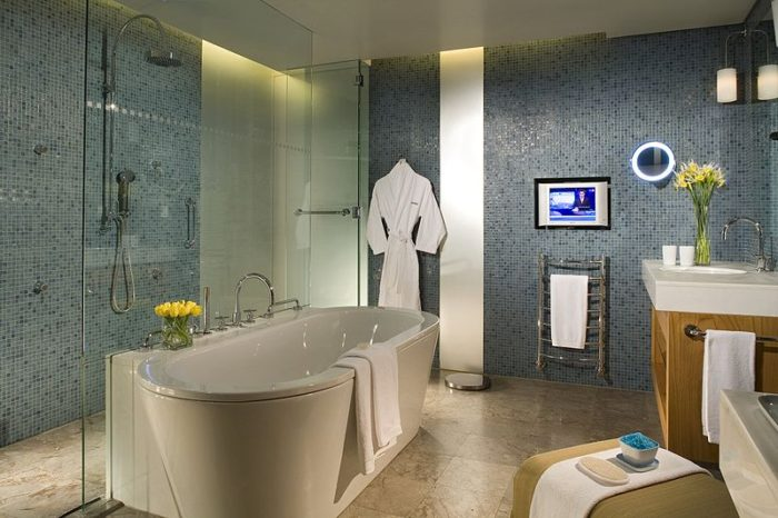 bathtub shower tile bath sink heated towel rack bathrobe remodel bathroom first when you move into a new home