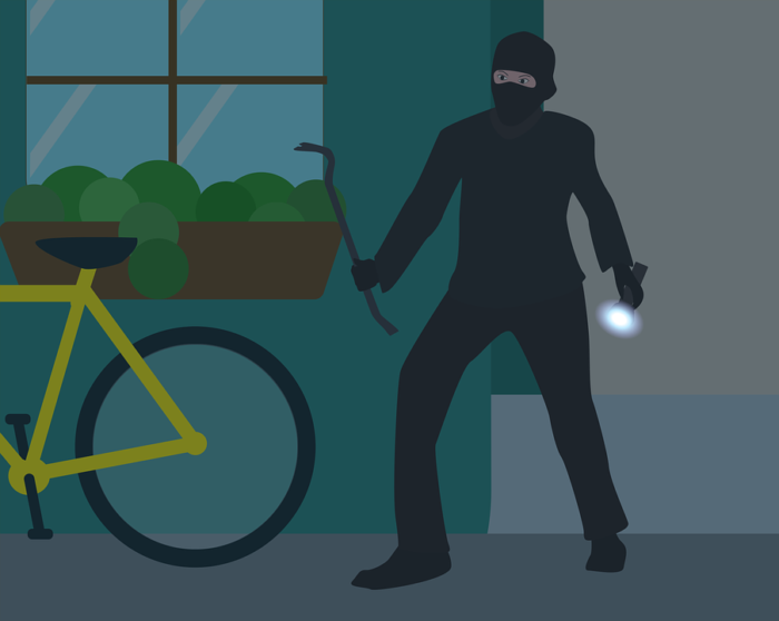 illustration of masked robber burglar thief stealing a bicycle from a home telltale signs you're inviting burglars into your home