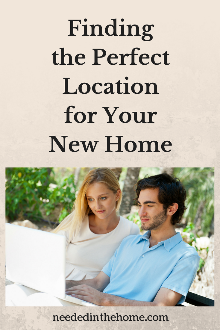 Home Location Finding the Perfect Location for Your New Home woman man couple laptop sitting outside searching for new home together neededinthehome