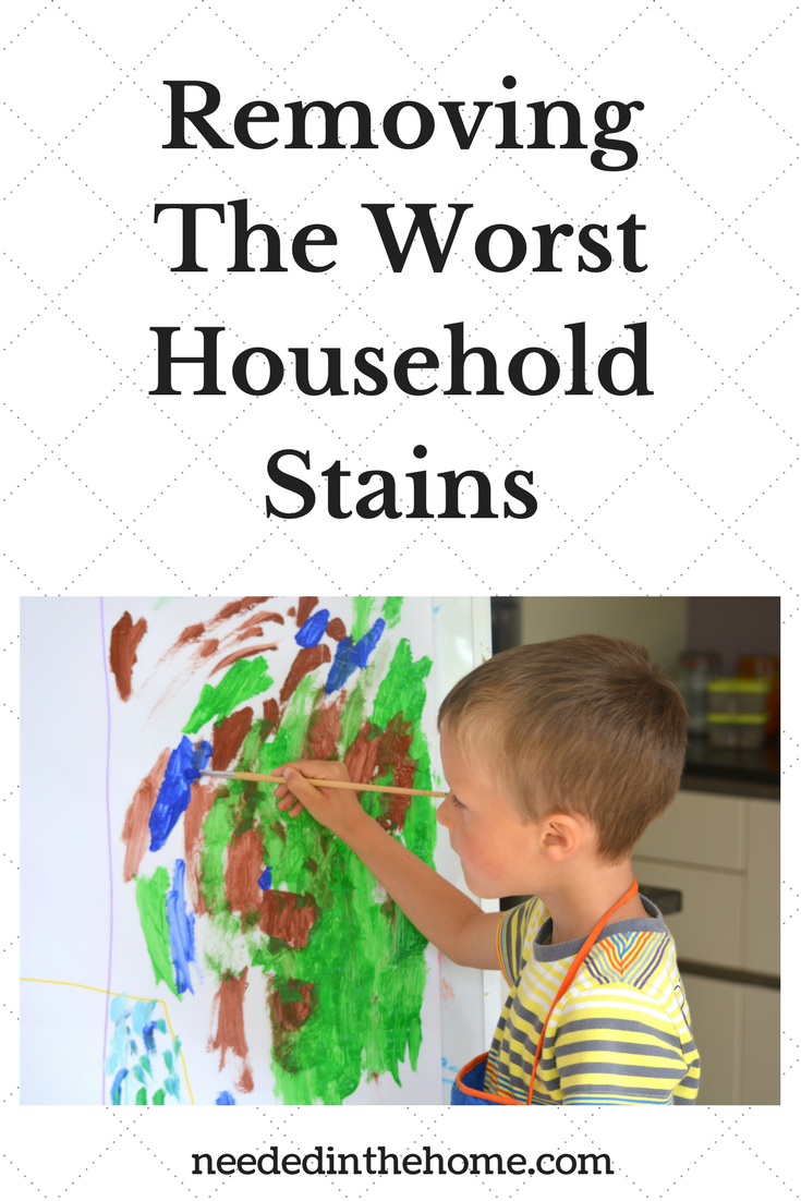 Removing the Worst Household stains boy paining a picture on an easel in the kitchen neededinthehome