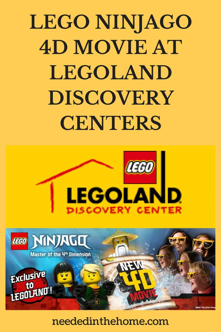 #ad LEGO NINJAGO 4D MOVIE AT LEGOLAND DISCOVERY CENTERS logo Ninjago characters Nya Lloyd Master Wu Kids in 3D or 4D glasses watching neededinthehome