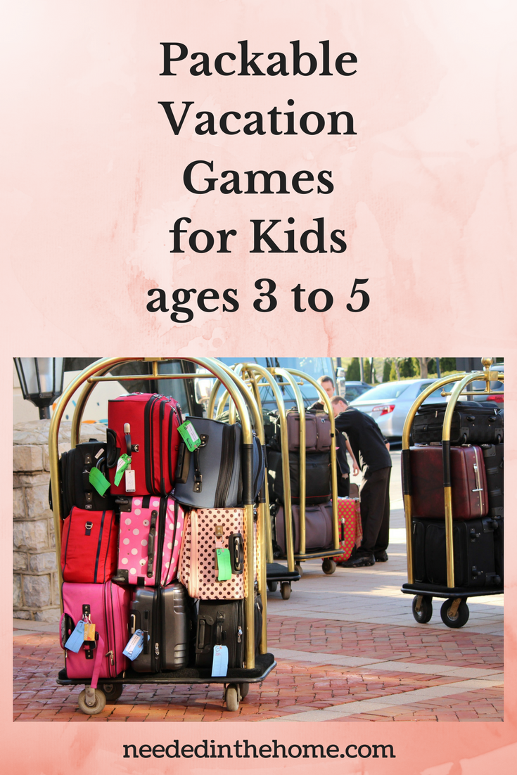 Packable Vacation Games for Kids Ages 3 to 5 luggage on bellboy's luggage rack ready to be taken to hotel room neededinthehome