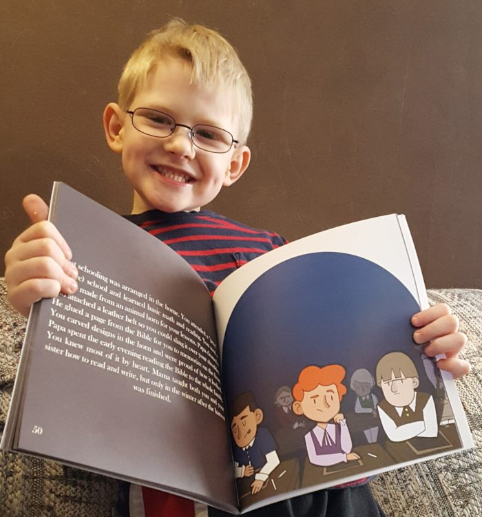 Product Review of If You Were Me And Lived In Colonial America paperback book by Carole P. Roman blond boy wearing glasses holding book