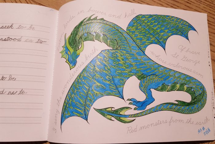 a colored and written page in the art of cursive writing book from cursivelogic in a product review of CursiveLogic