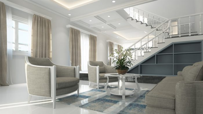 Shopping for a dream house Be sure to tell the realtor what you want spacious living room with open stairway long drapes chairs couch