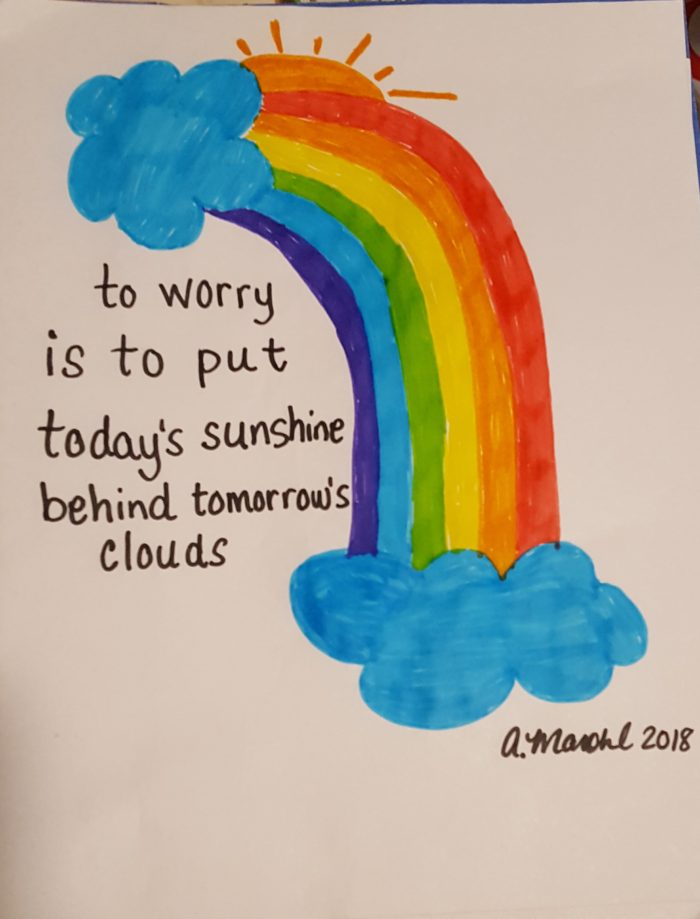 rainbow marker drawing clouds sun worry poem by A. Marohl 2018 made with Magic Stix Washable Markers