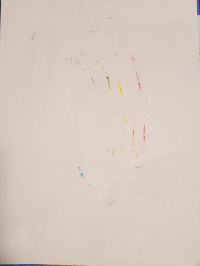 some marker stains that bled through the second page in product review of Magic Stix Washable Markers