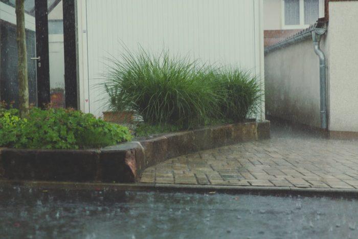 raining outside landscaping