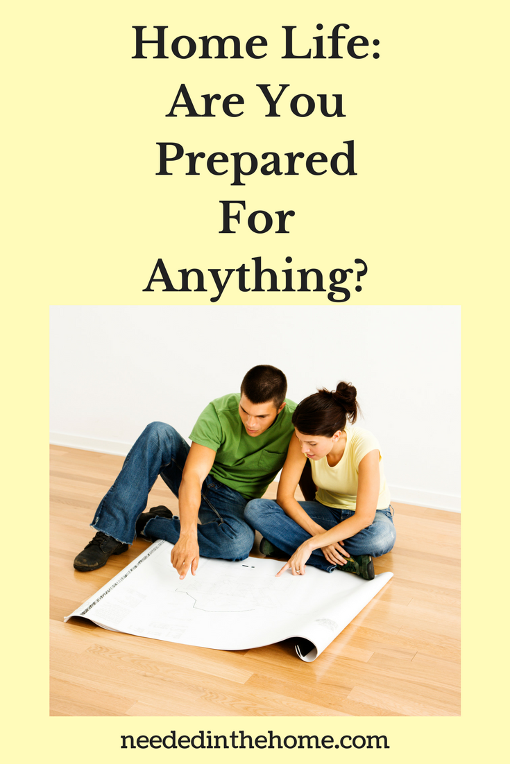 Home Life: Are You Prepared For Anything? young married couple sitting on floor planning with paper neededinthehome